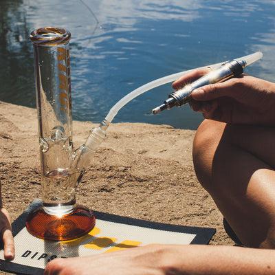 Dipwhip electric honey straw Attachment connected to Dipper lifestyle shot