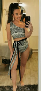 Snake Print High Waisted Bikini Bottoms