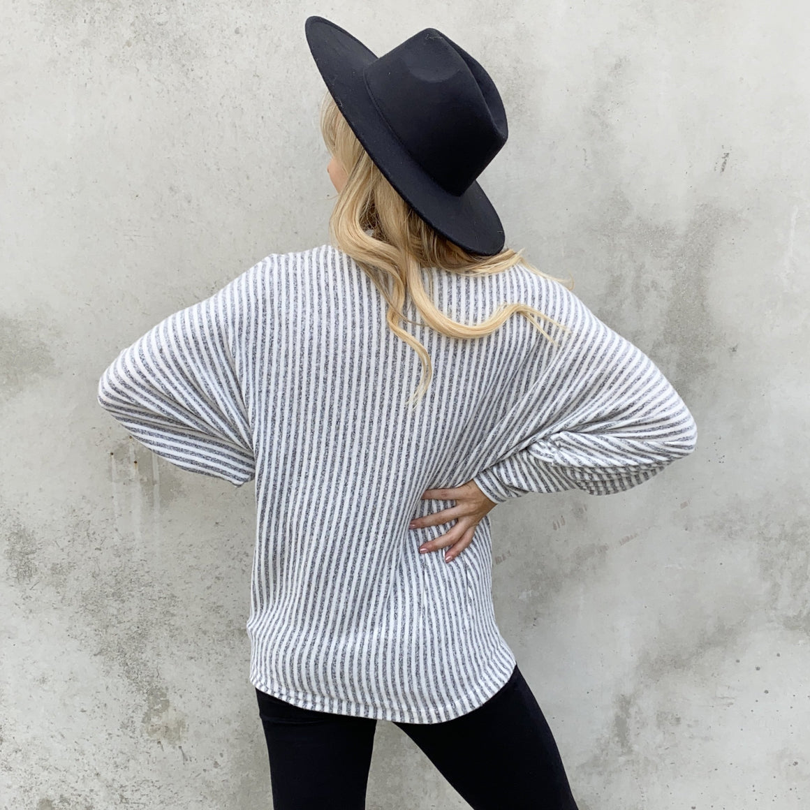 Grey & White Fleece Stripe Sweater Top - Dainty Hooligan