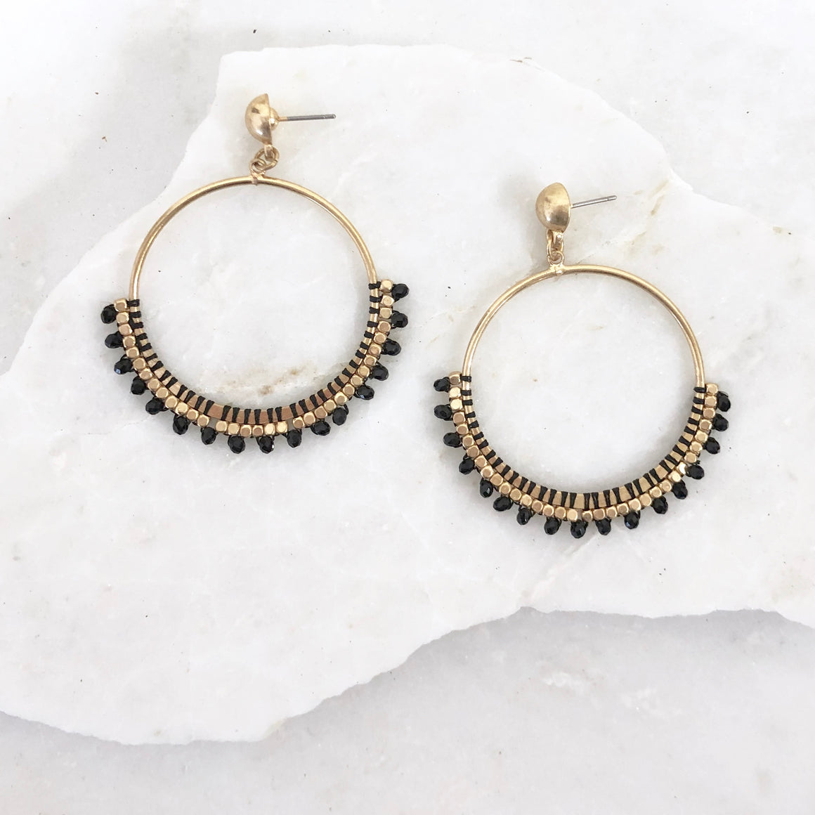 Charm Black Hoop Earrings