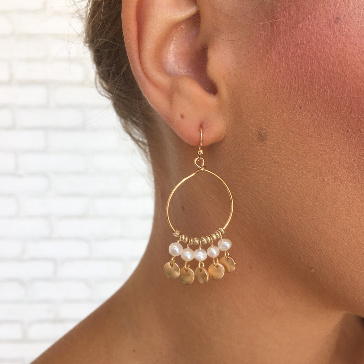 Hanging By A Pearl Hoop Earrings In Gold - Dainty Hooligan