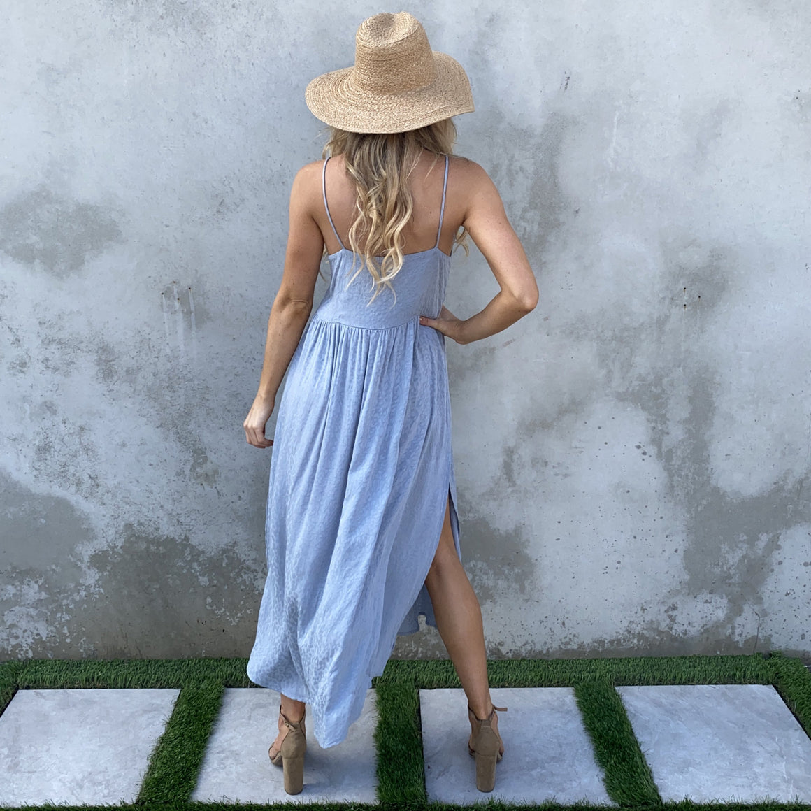 Always Content Cheetah Blue Maxi Dress - Dainty Hooligan