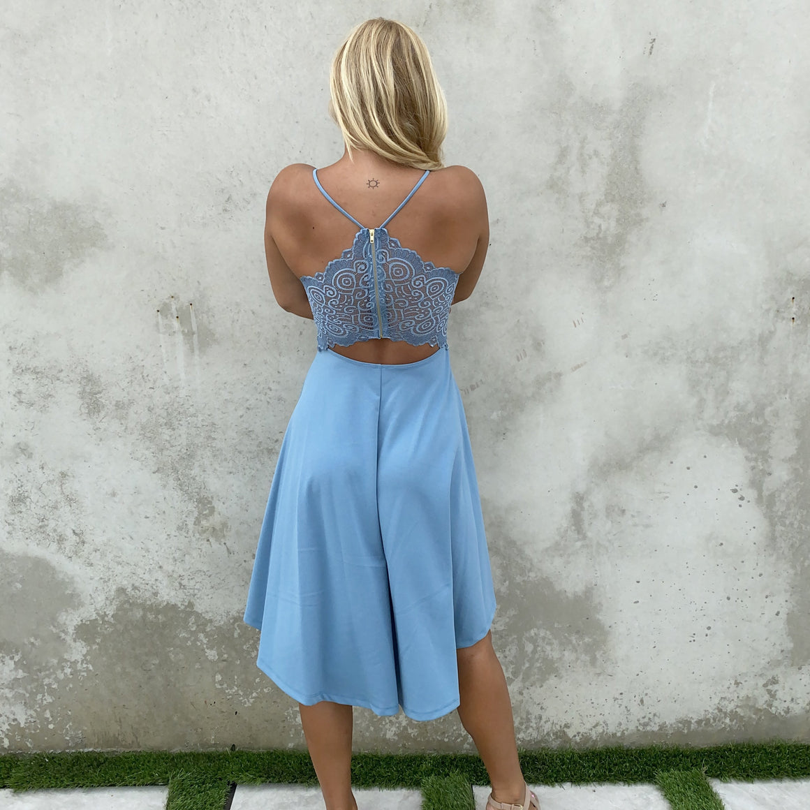 Deep In Love Hi Low Dress in Baby Blue - Dainty Hooligan