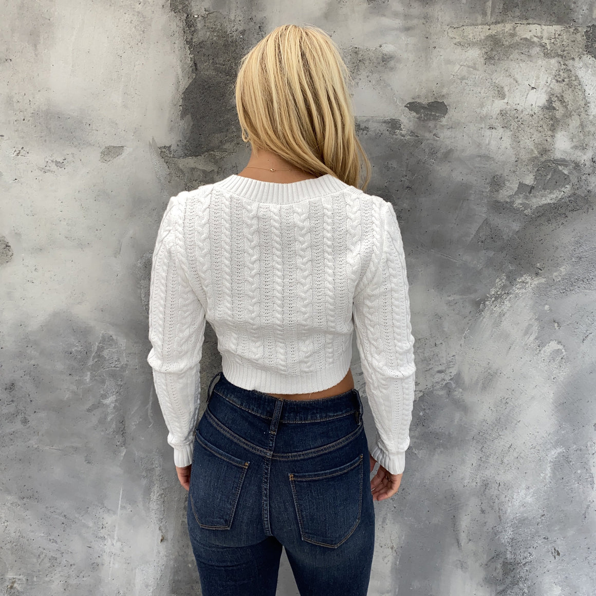 Snow Bunny White Cable Knit Sweater - Dainty Hooligan