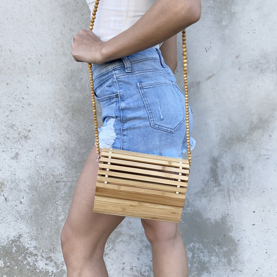 Vera Carved Bamboo Wood Handbag - Dainty Hooligan