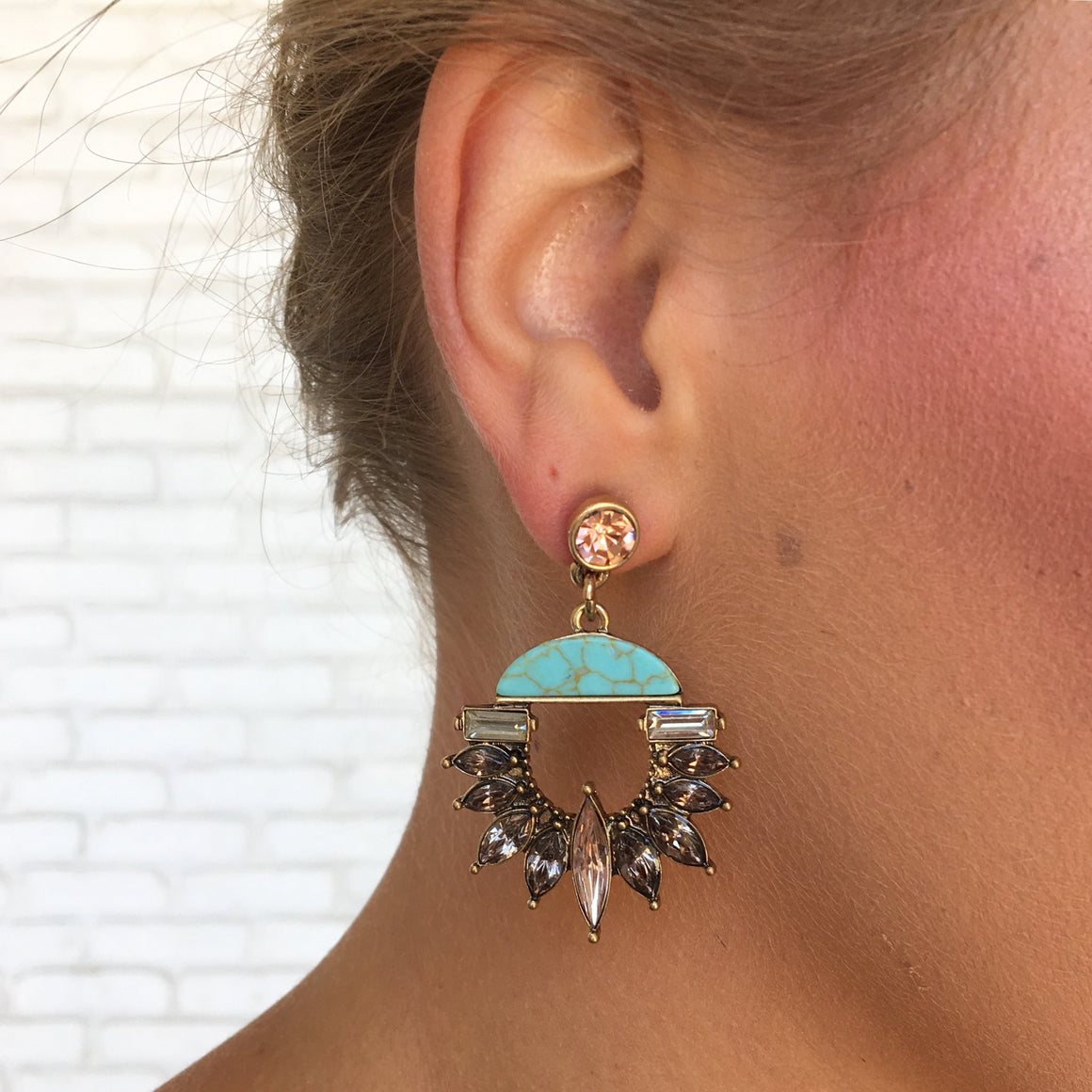 Topaz & Turquoise Crystal Earrings - Dainty Hooligan