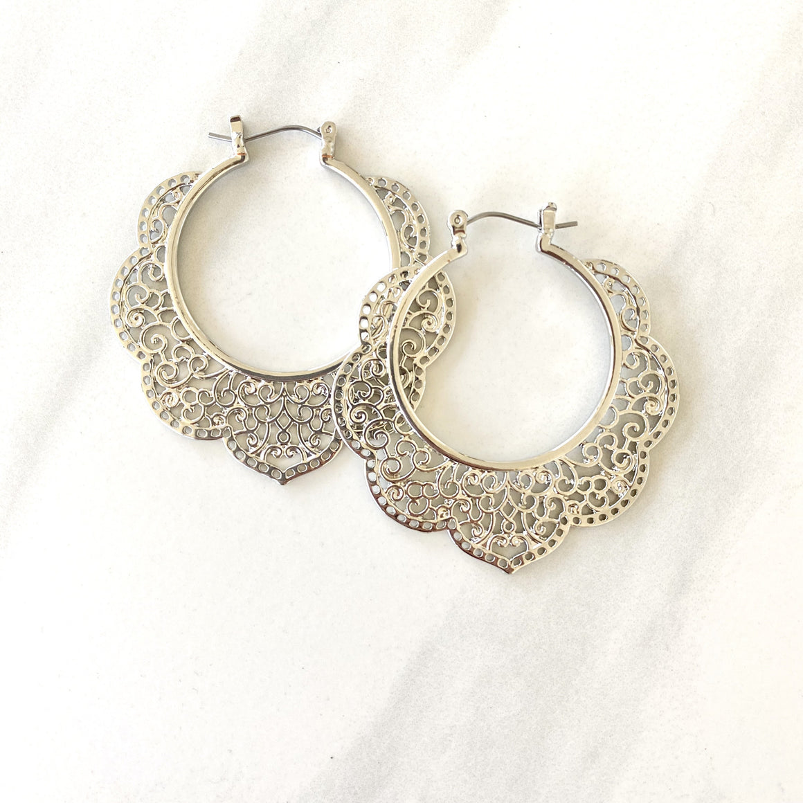 Clover Charm Laser Cut Silver Hoop Earrings