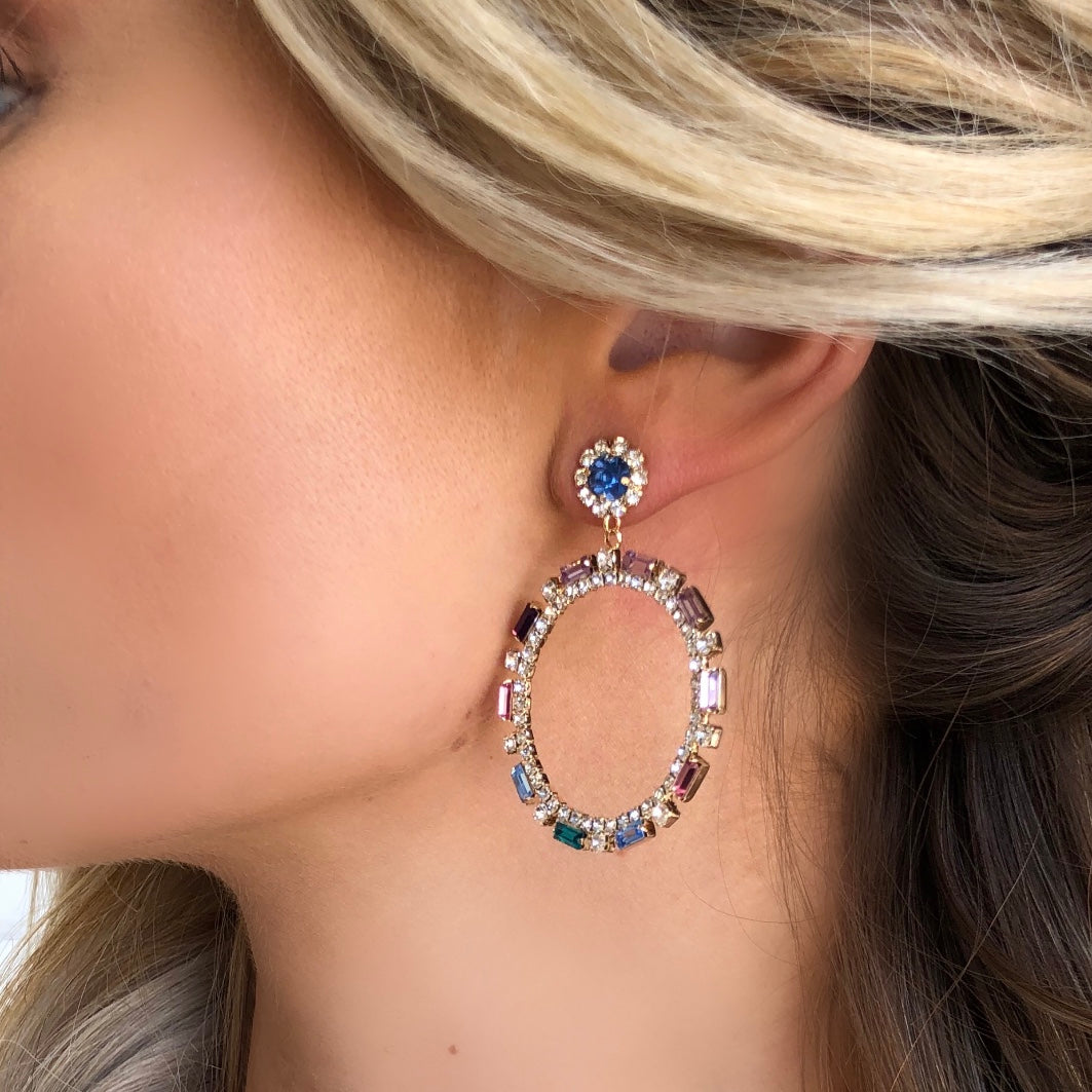 Eliza Crystal Hoop Earrings