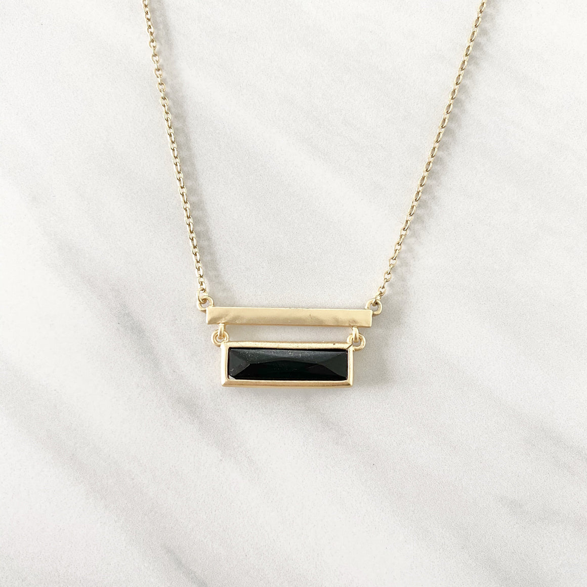 Midnight Black Bar Necklace in Gold