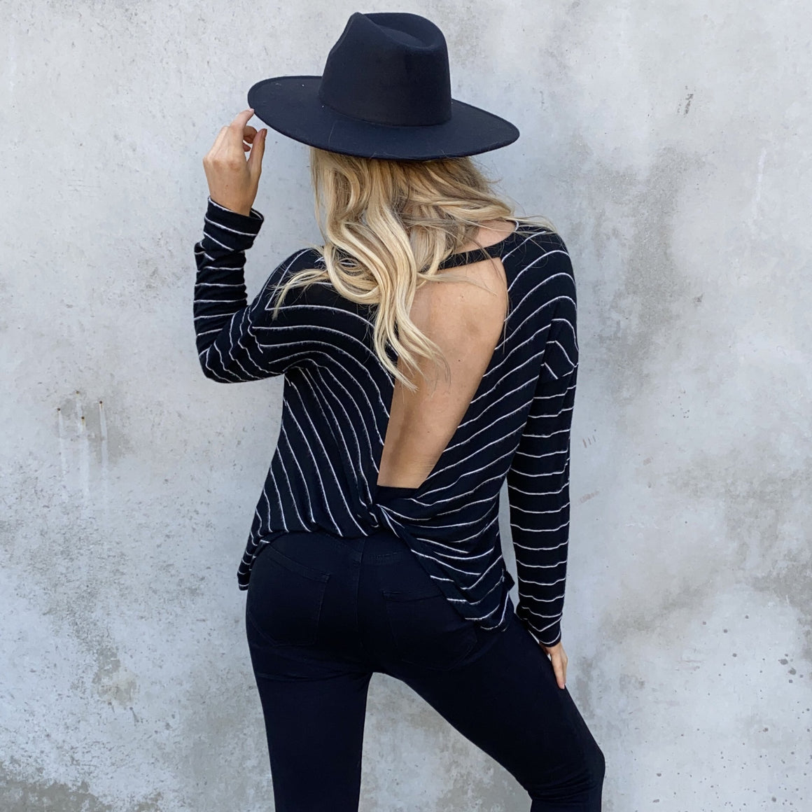 Elsa Fleece Stripe Back Sweater Top In Black - Dainty Hooligan