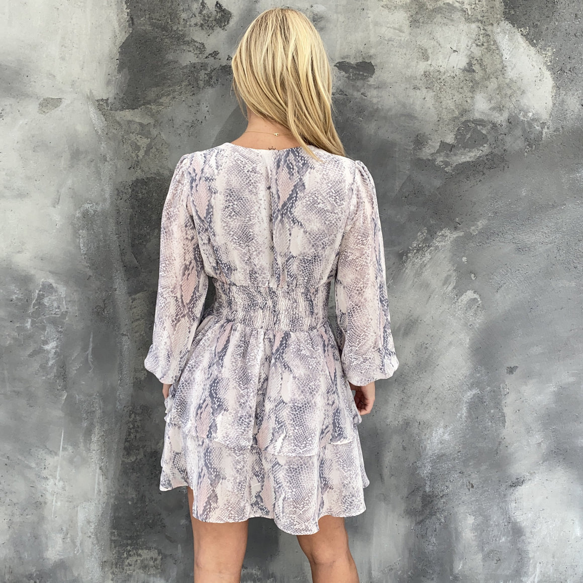 Here's To Us Snakeskin Print Dress
