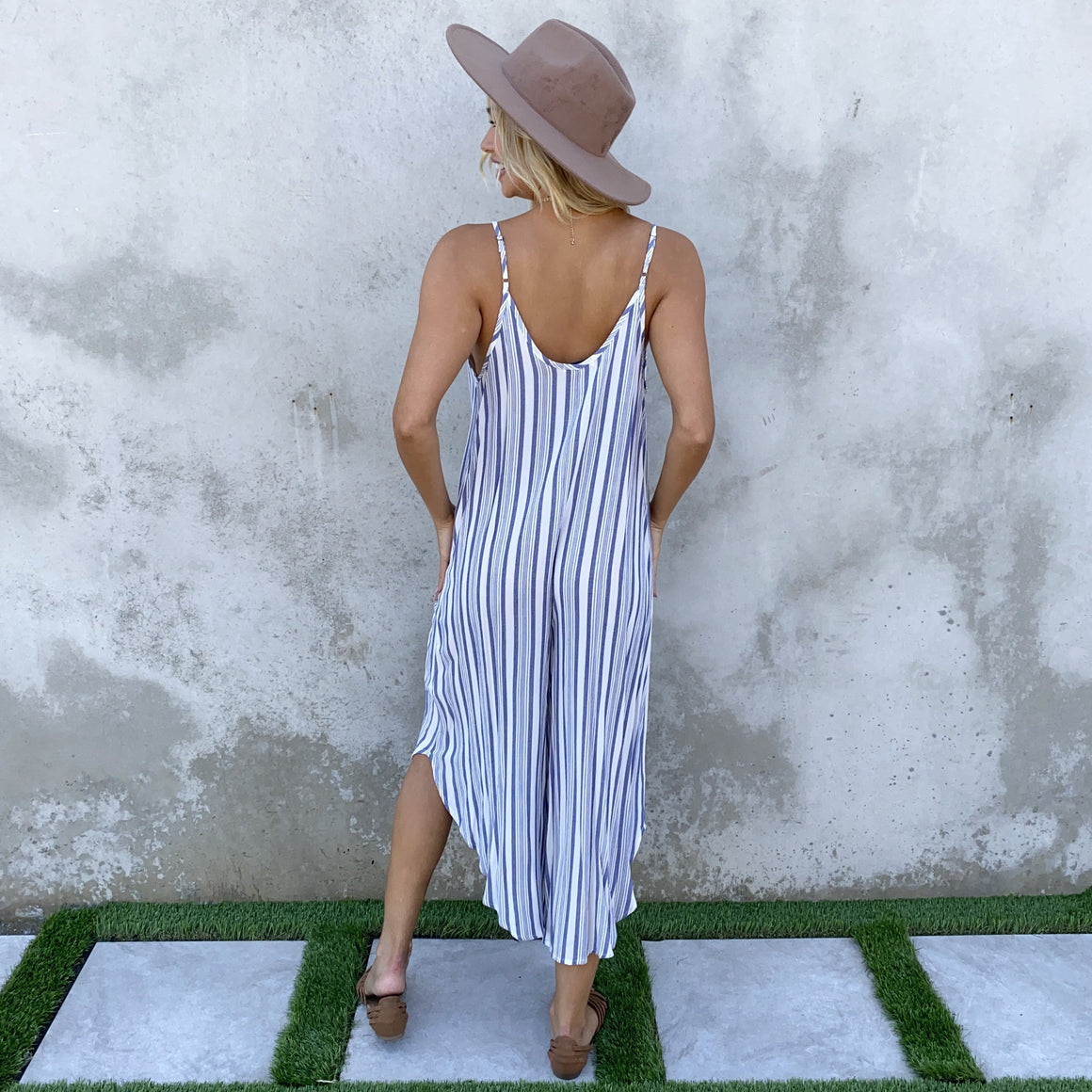 Lounge in Denim Stripe Jumpsuit - Dainty Hooligan
