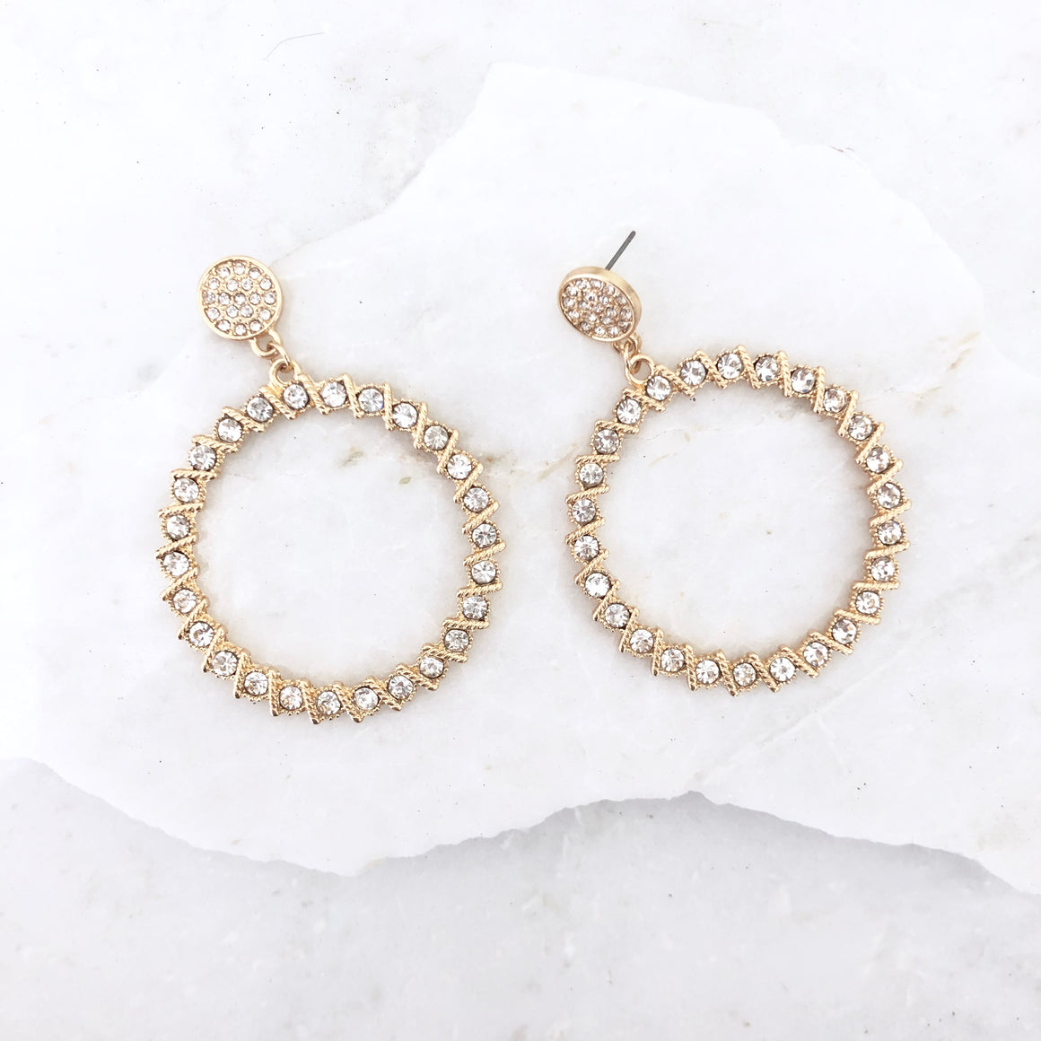 Crystal Ball Gold Hoop Earrings