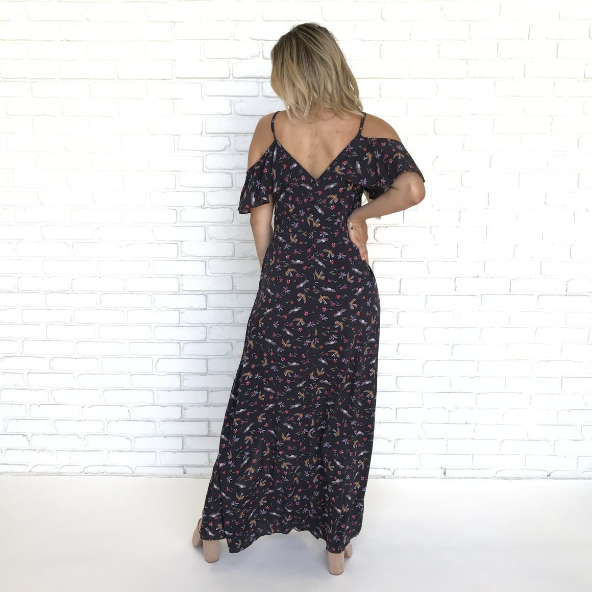 Beloved Bella Floral Cold Shoulder Maxi - Dainty Hooligan