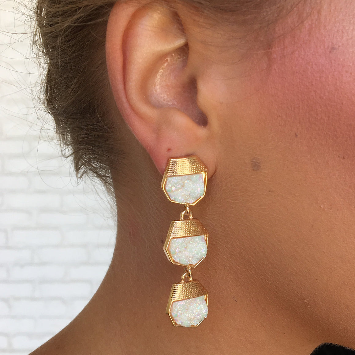 White Pearl Tri Stone Earrings - Dainty Hooligan