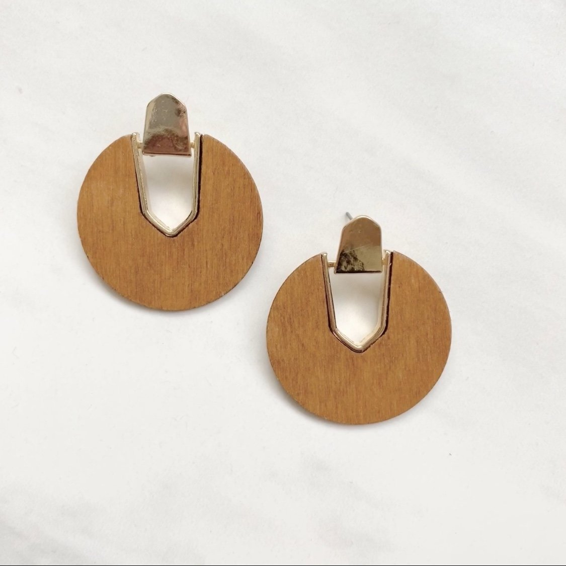 Well Crafted Wood & Gold Earrings