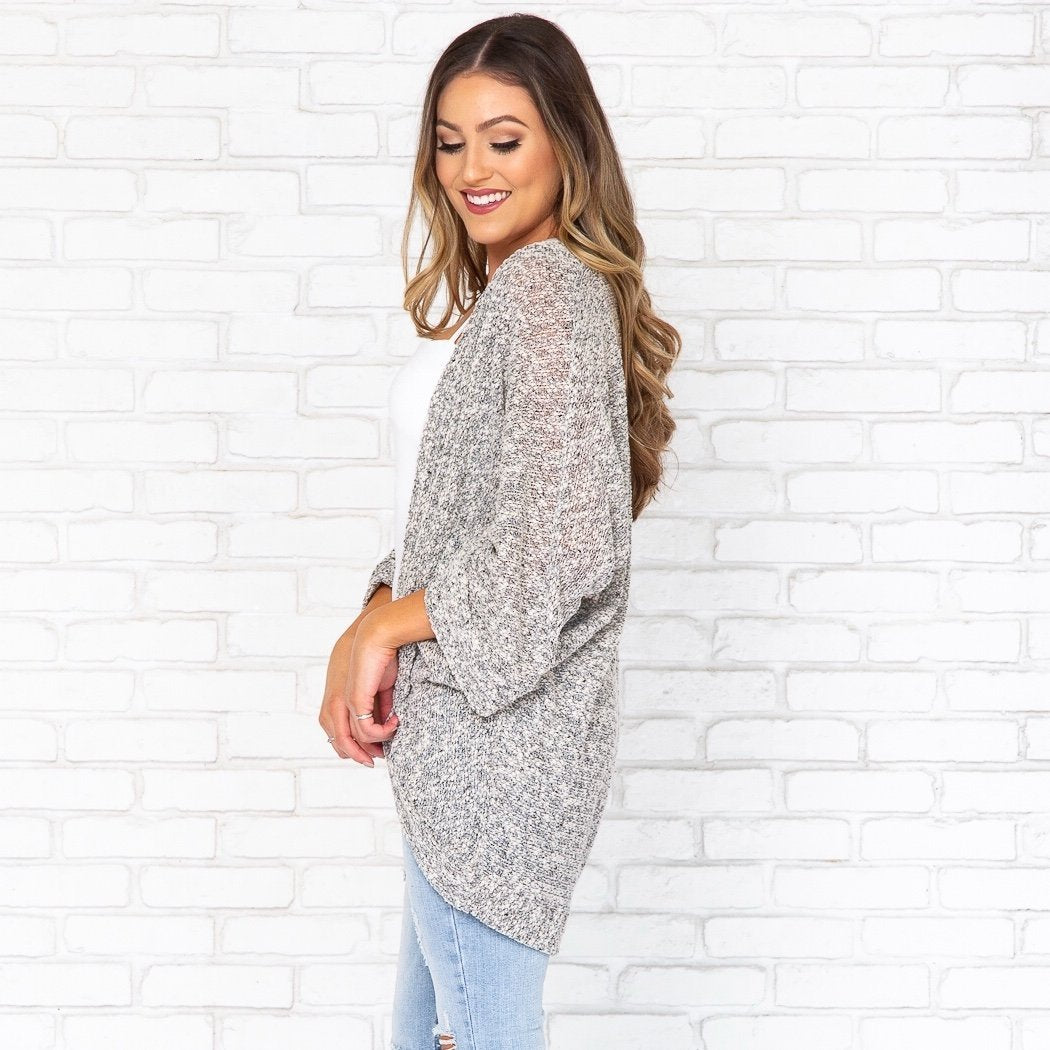Mature Knit Speckled Cardigan in Grey