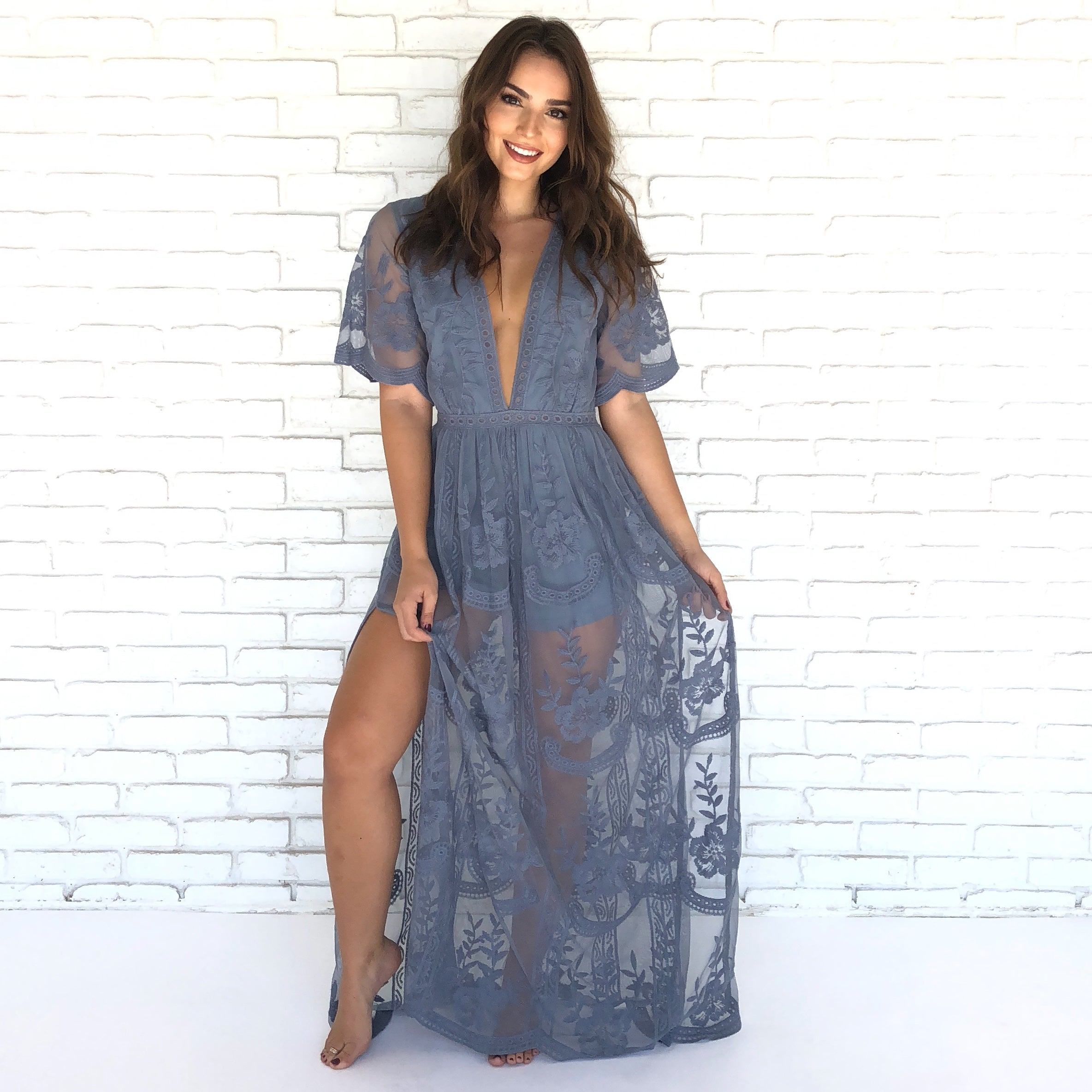 Wine   Dine Embroidered Maxi Dress in Dusty Blue - Dainty Hooligan Boutique e36c4f05b