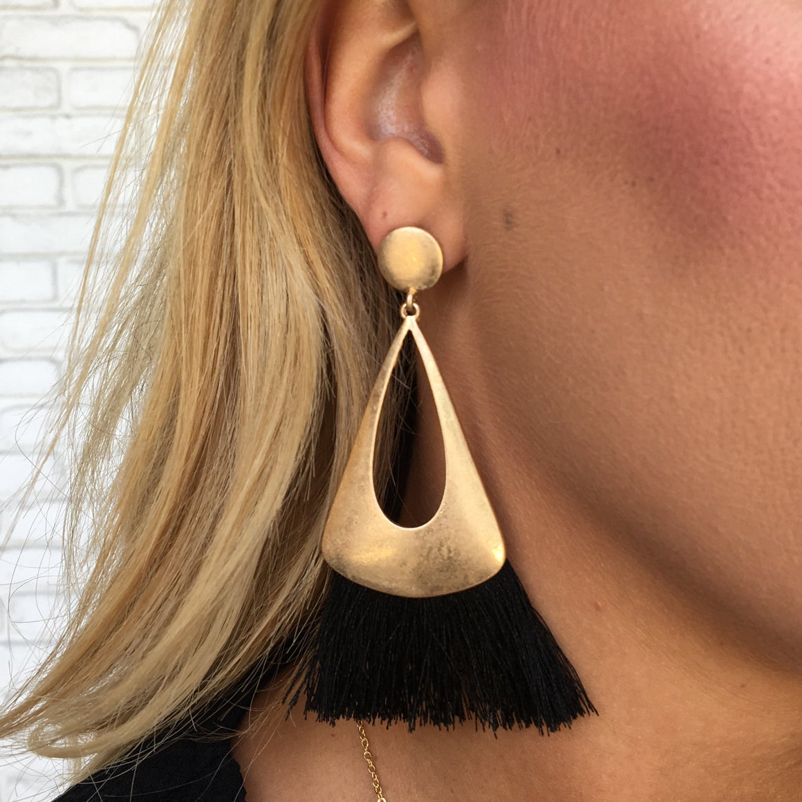 All About The Fringe Earrings in Gold & Black - Dainty Hooligan