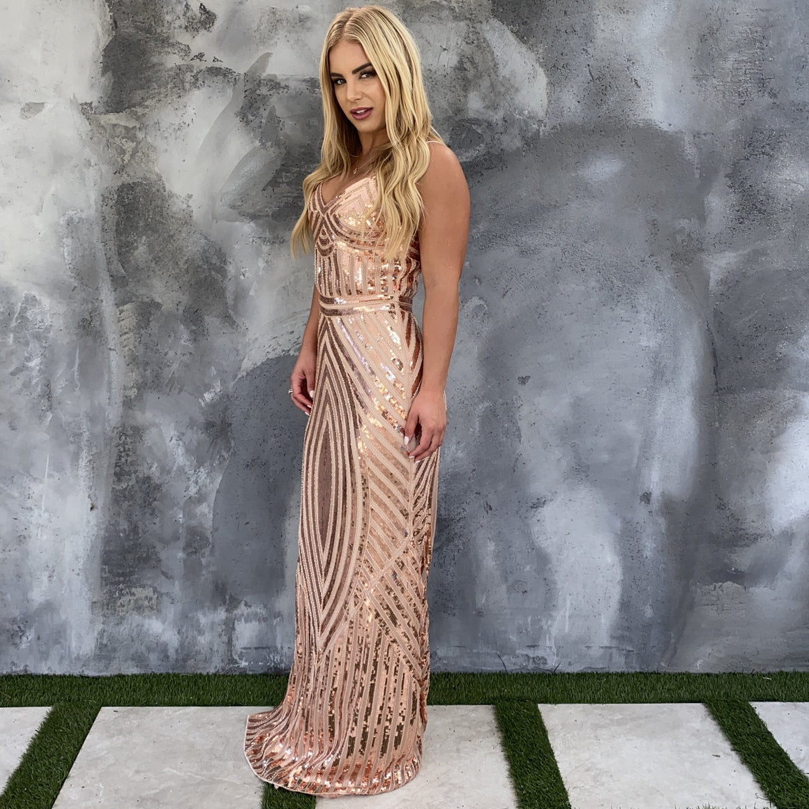 High Ambition Rose Gold Sequin Maxi Dress