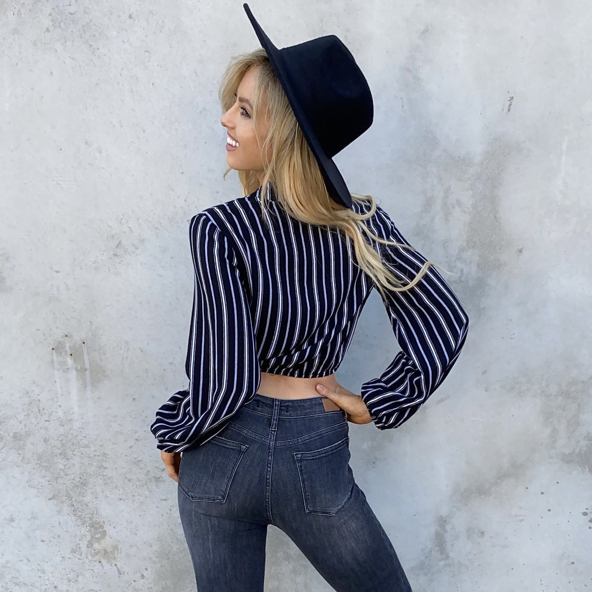 Black & White Stripe Wrap Long Sleeve Top - Dainty Hooligan