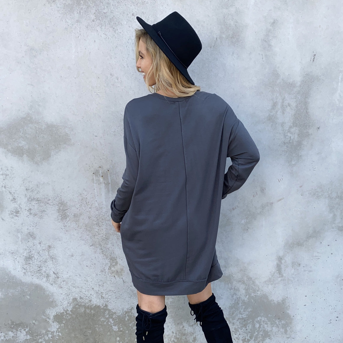 Cold Front Charcoal Grey Fleece Sweater Dress - Dainty Hooligan
