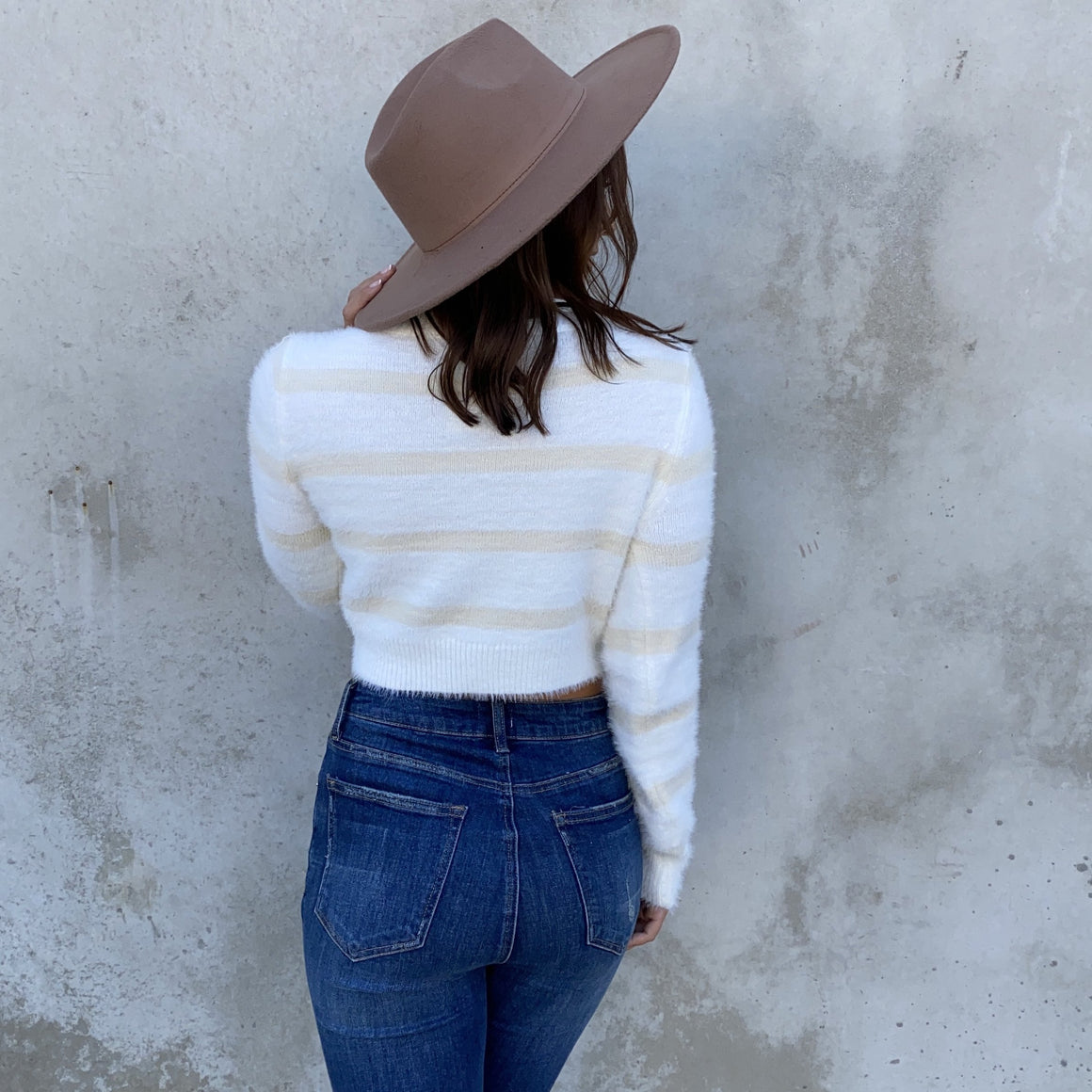 Hey There White Stripe Crop Sweater - Dainty Hooligan