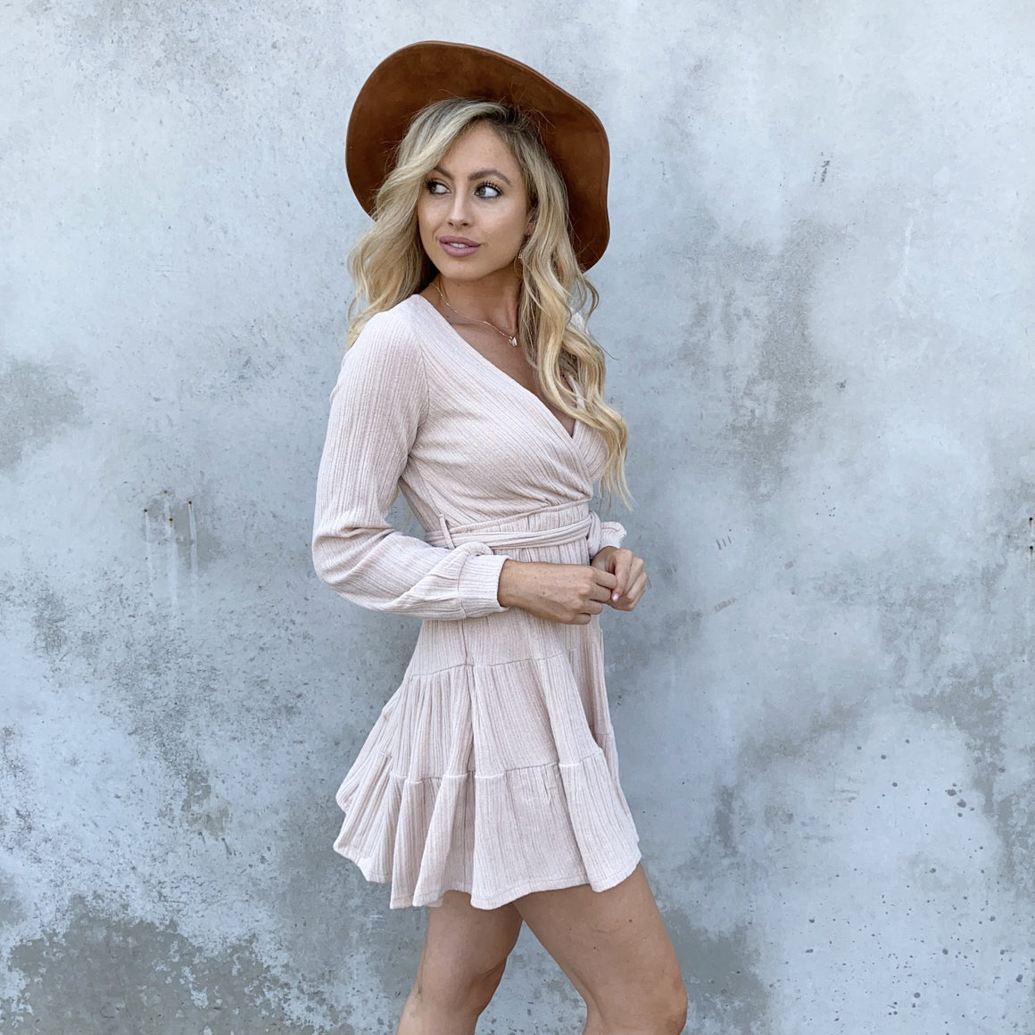 Honey Love Tan Knit Long Sleeve Sweater Dress - Dainty Hooligan