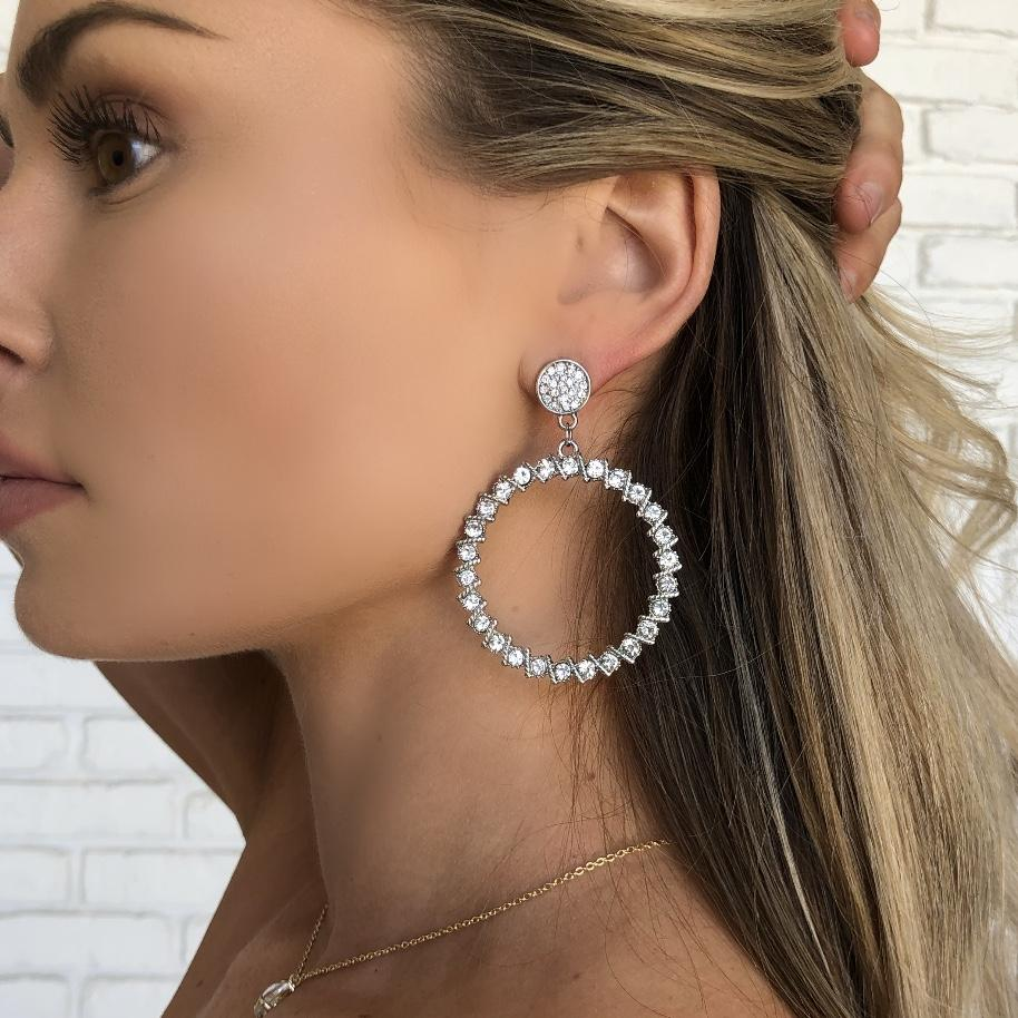 Crystal Ball Silver Hoop Earrings