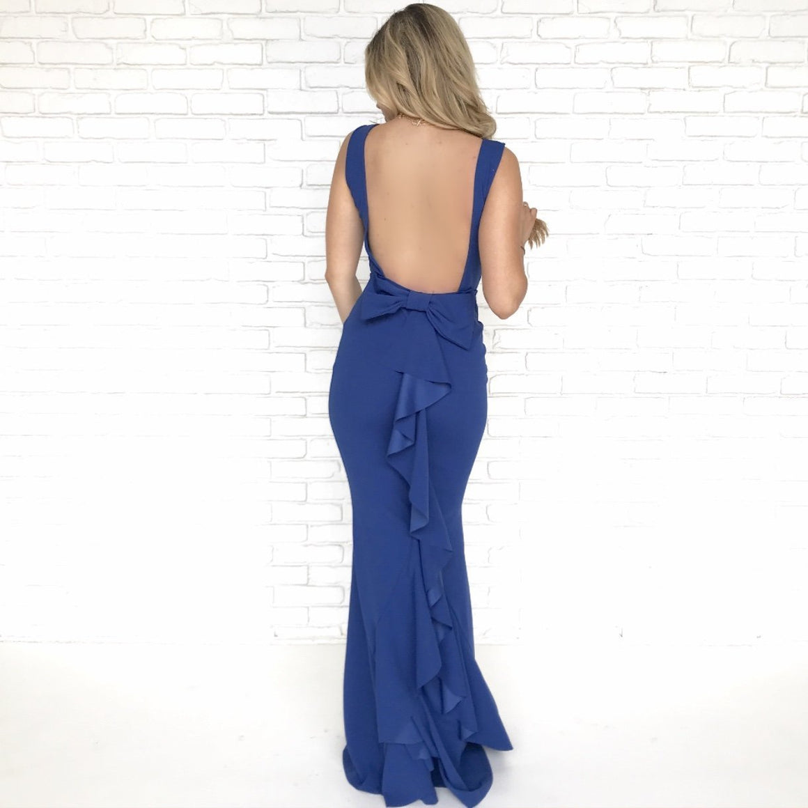 Perfect Duet Bow Back Maxi Dress In Royal Blue - Dainty Hooligan
