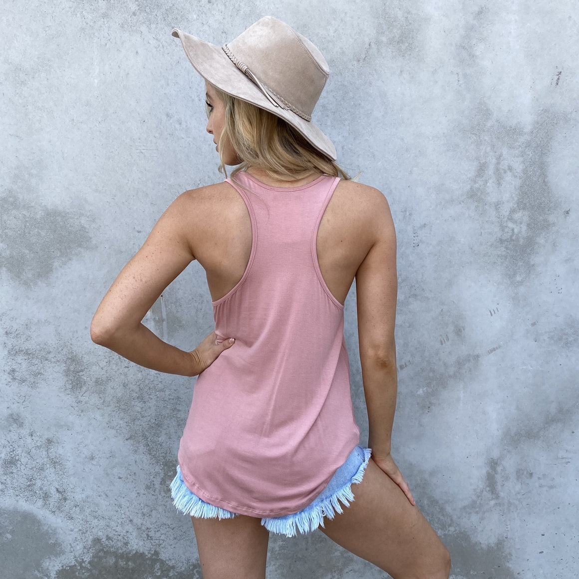 Just A Twist Jersey Tank Top In Rose Pink - Dainty Hooligan