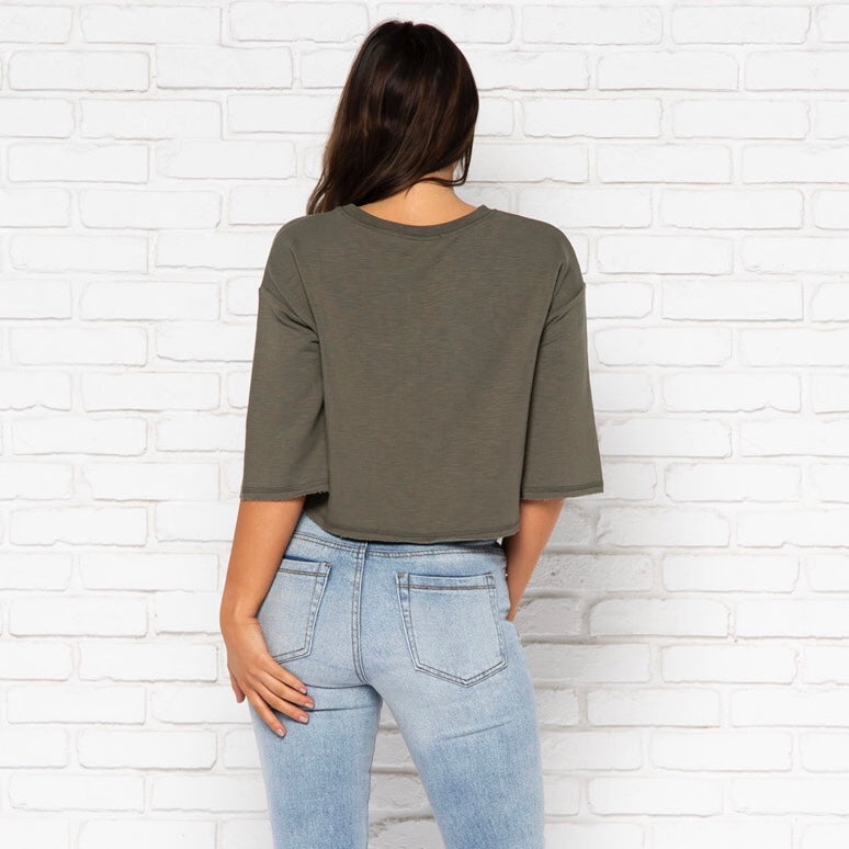 Emerson Sweater Top in Olive