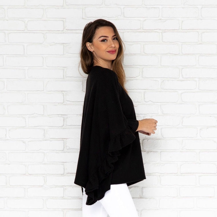 Nadia Ruffle Knit Top in Black