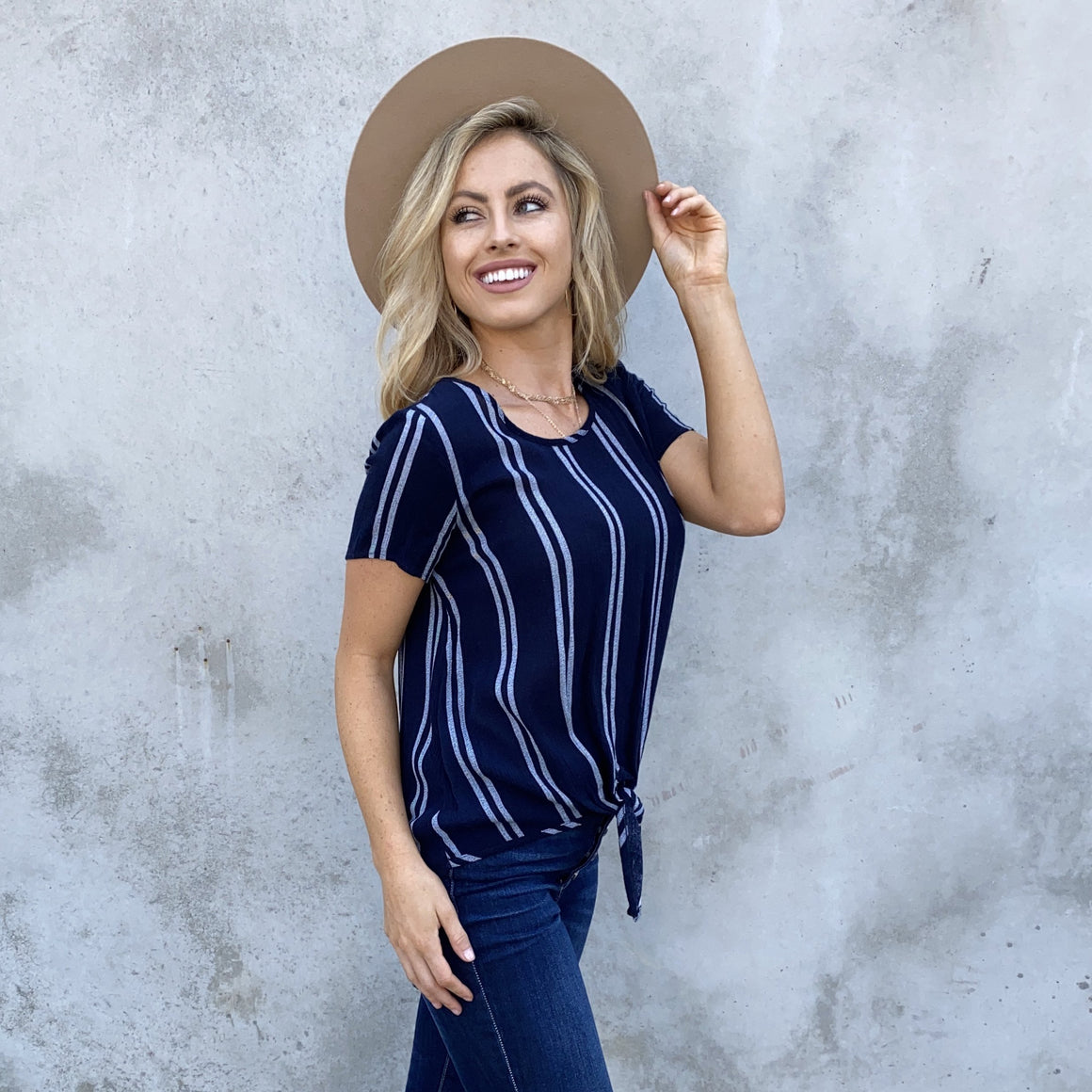 Love of Live Navy Blue Stripe Tie Blouse - Dainty Hooligan