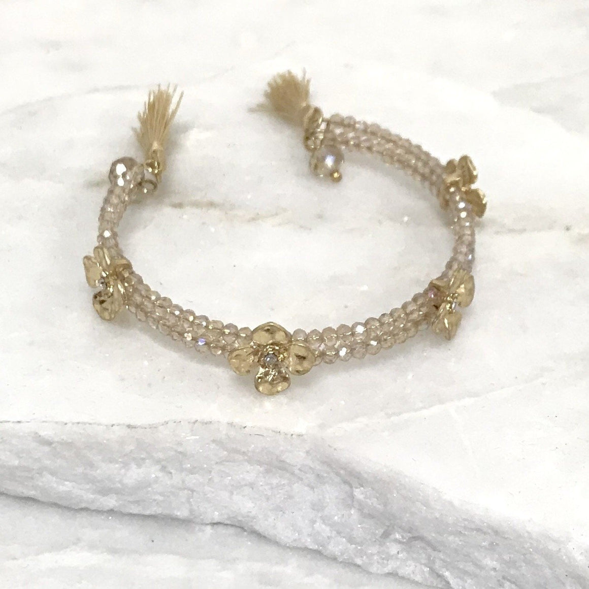 Golden Daisy Bead Bangle Cuff Bracelet - Dainty Hooligan