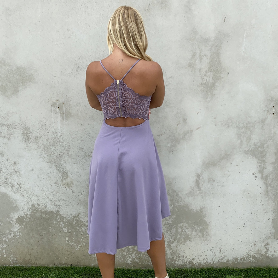 Deep In Love Hi Low Dress in Lavender - Dainty Hooligan