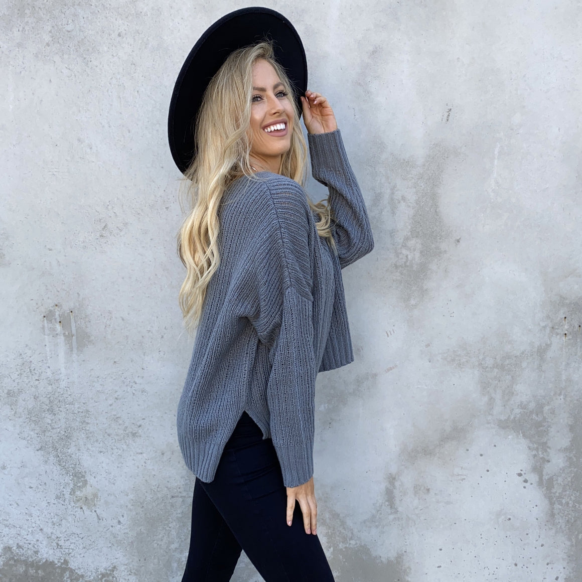 Love Always Charcoal Grey Knit Sweater - Dainty Hooligan