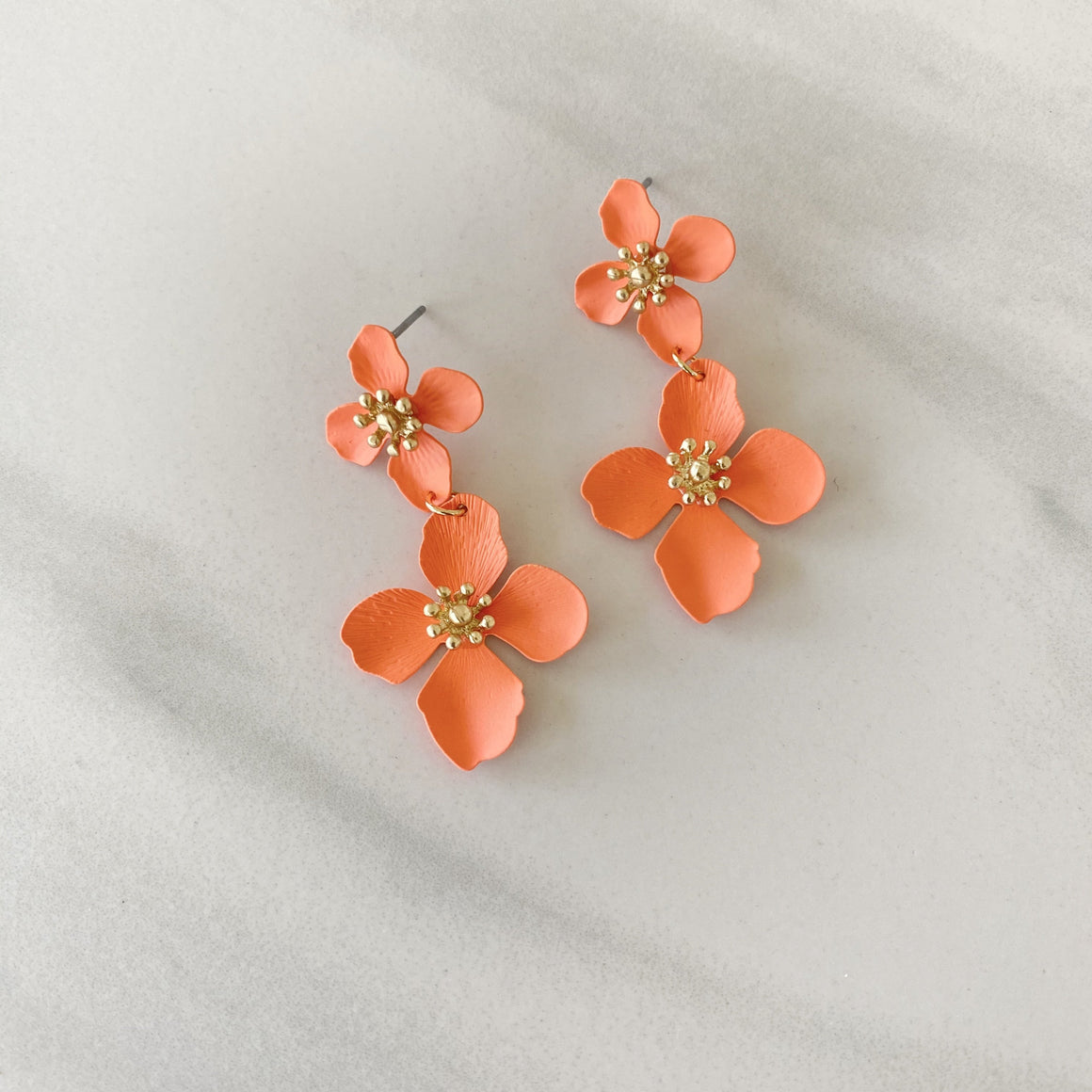 Grew On You Coral Lily Earrings - Dainty Hooligan