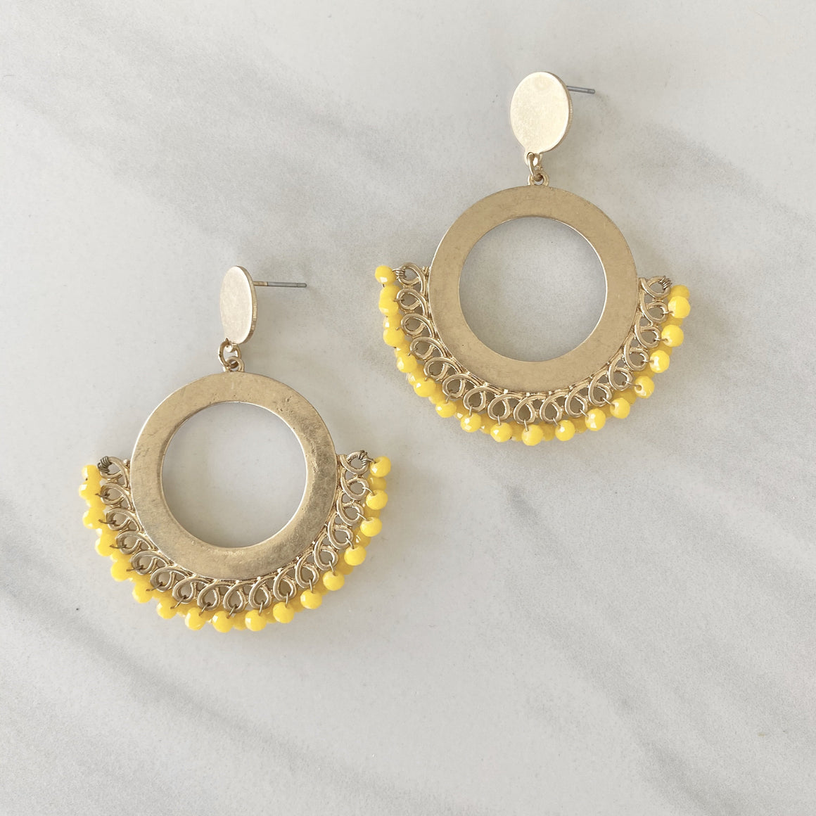 Royal Touch Yellow Beaded Gold Earrings