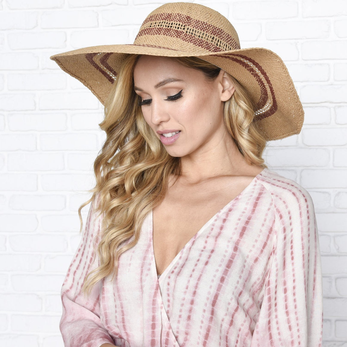 Resort Lounging Red Stripe Floppy Hat