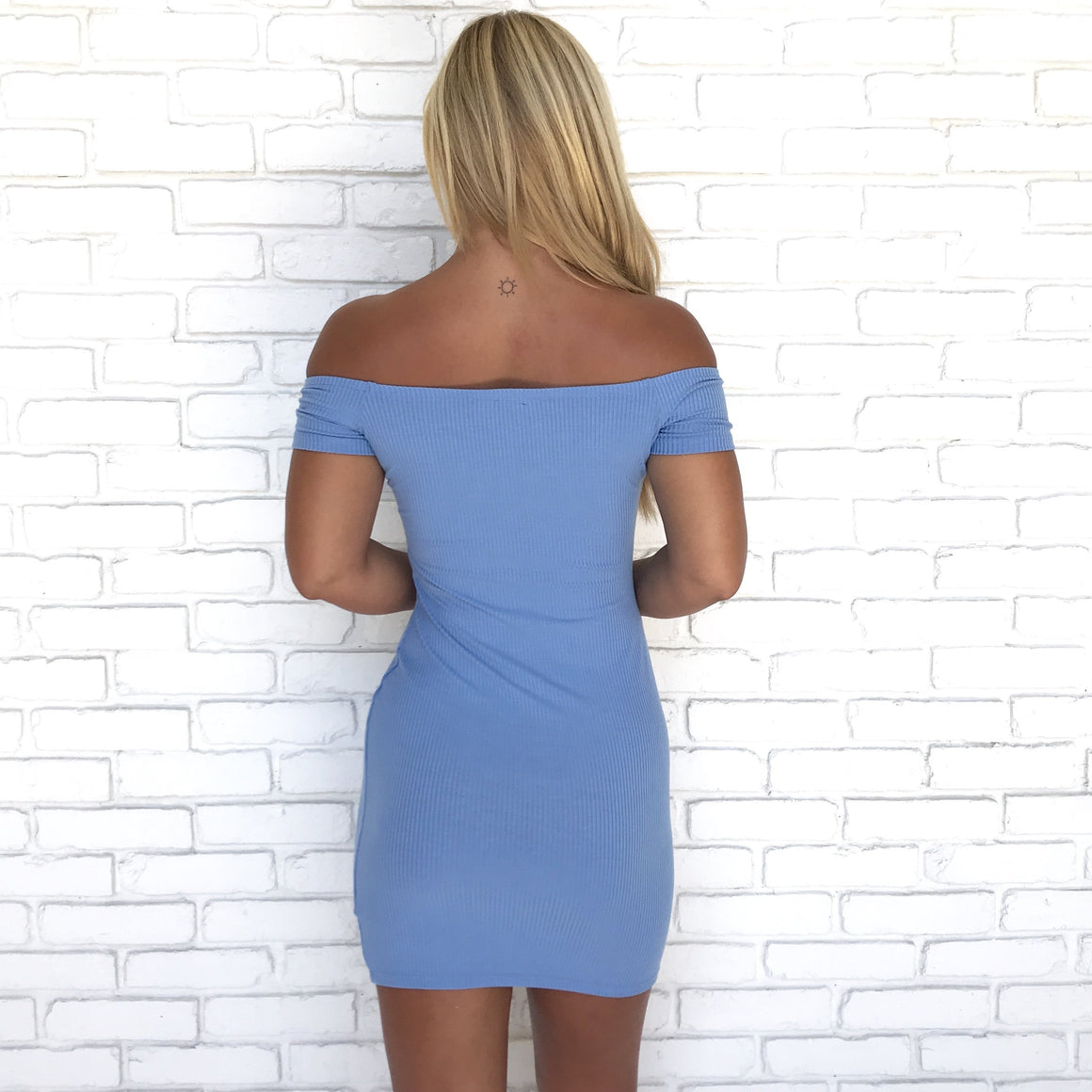 Leading Role Sky Blue Jersey Bodycon Dress
