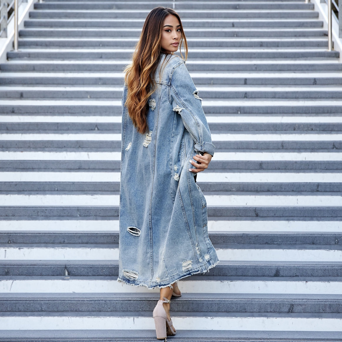Long Road Home Denim Trench Coat