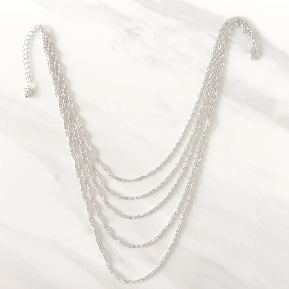 Chains That Bind Us Silver Layered Necklace