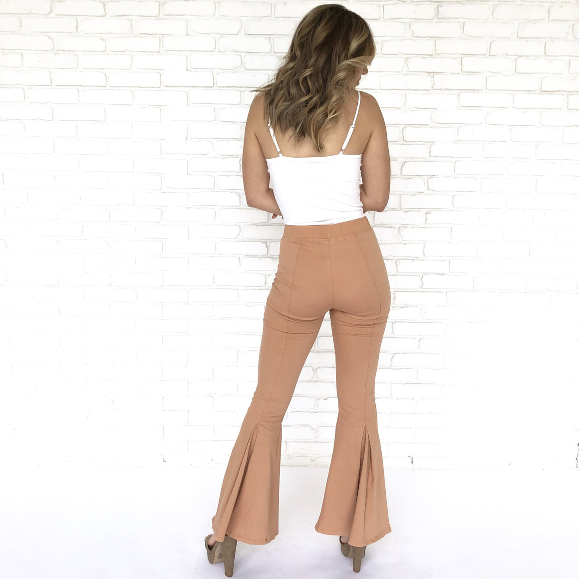 Daring Flare Bell Bottom Pants In Apricot
