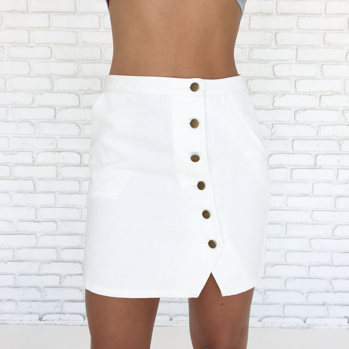 Daybreak White Denim Mini Skirt