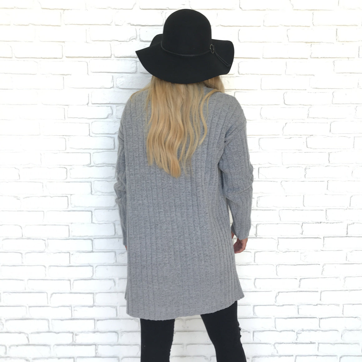 Soft Shiver Grey Ribbed Cardigan