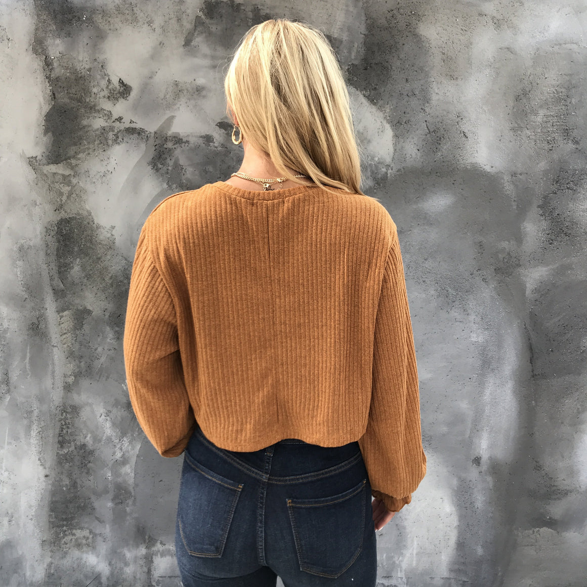 Pumpkin Spice Long Sleeve Knit Top