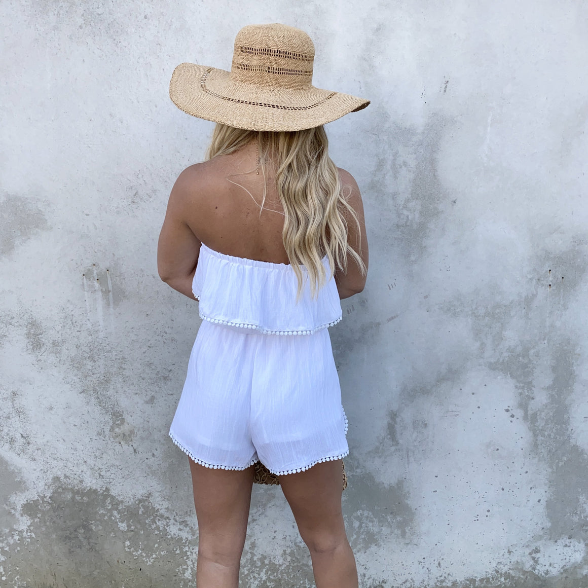 Wide Awake Off Shoulder Tassel White Romper - Dainty Hooligan