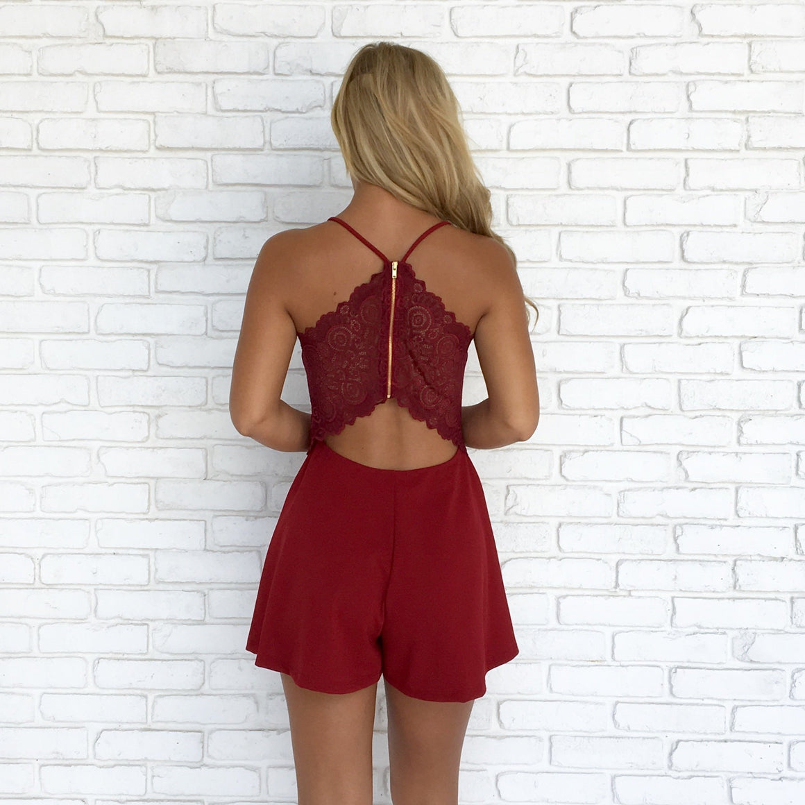 Gift Giving Lace Romper in Burgundy - Dainty Hooligan