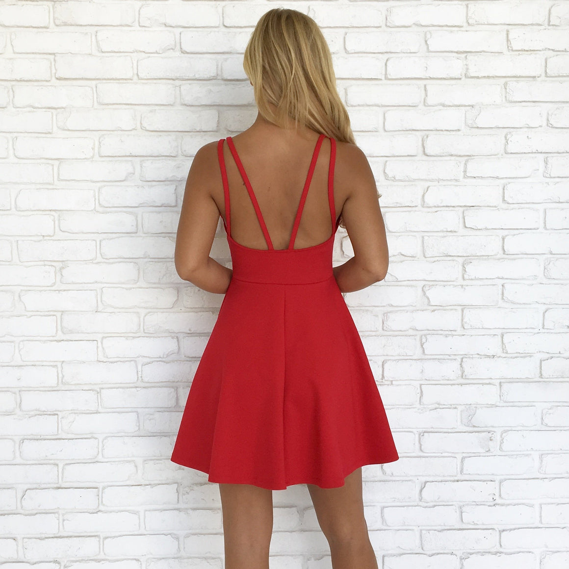 Raise A Toast Skater Dress in Fire Red - Dainty Hooligan